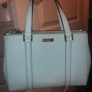 Light Blue Aqua Kate Spade Double Zip Tote